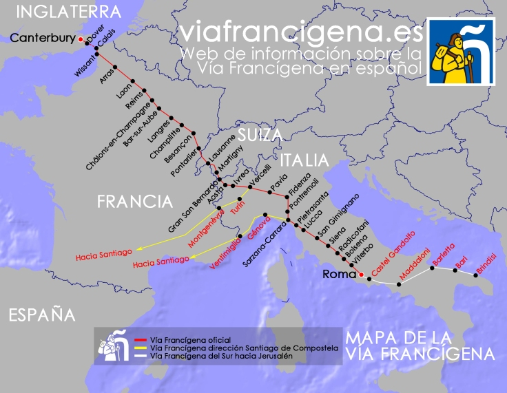 El camino hacia Roma desde Inglaterra, según el Diario de Sigerico.